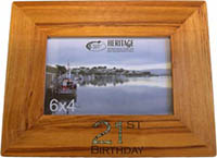 Wooden Rimu Photo Frame 6 x 4 Has Paua inlaid digits 21st under the photo