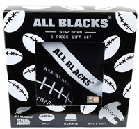 All Blacks Baby Gift Box, includes onsie, hat and rugby ball