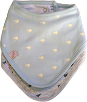 Blue Bib 2 pack, includes blue bib with white Kiwis and a grey bib with little ferns