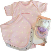 Pink Baby Gift Set, includes a romper and a pink and grey bib and a pink rattle