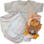 Blue baby gift set, includes Kiwi romper and blue bib and grey bib and a fun Kiwi rattle