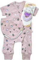 Pink Baby Git Set 1 Includes 1 x Pink Romper - Newborn 2 x Bibs - Pink and Cream 1 x Baby Rattle Sheep