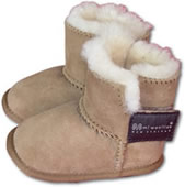 Pair of Sheepskin Baby Booties in an ugg boot style