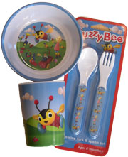 Buzzy Bee Table Set includes cutlery, bowl and cup