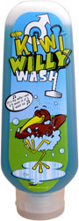 Liquid shower gel in a container called Willy Wash