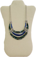 Blue and Patterned Triple Necklace