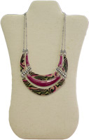 Pink and Patterned Triple Necklace