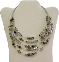Grey Glass Beaded Necklace