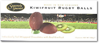 Chocolate covered Kiwifruit Rugby Balls