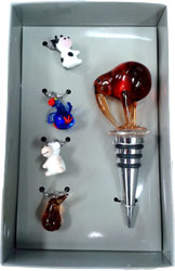 Glass Wine Charms and Kiwi Wine Bottle Stopper