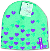 Beanie with love hearts dotted all around it