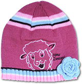 Pink Crochet Sheep Kids Beanie