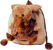 Brown Kiwi Backpack with soft toy attached to the back