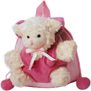 Pink Sheep Backpack with soft toy sheep attached to the back
