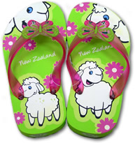 Green Sheep Butterfly Flip Flops