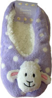 Purple coloured sheep slippers have a cute sheep head on the front