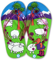 Kiwi and Sheep Flip Flops