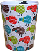 Missy Kiwi Melamine Cup with colourul Kiwis around it