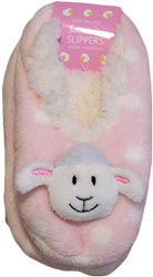 Pink Sheep Slippers has cute sheep head on the front