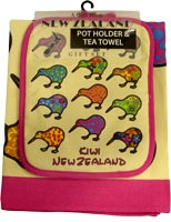 Colourful Kiwi Tea Towel and Pot Holder Combo