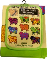 Colourful Sheep Tea Towel and Pot Holder Combo