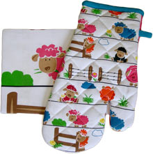 Playful Sheep Oven Glove and Tea Towel Combo