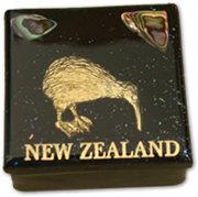 Black Souvenir Trinket Box with Gold Kiwi