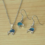 Blue Paua Kiwi necklace and earrings