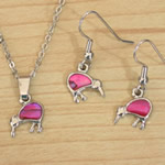 Pink Paua Kiwi necklace and earrings