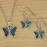 Blue Paua Butterfly necklace and earrings