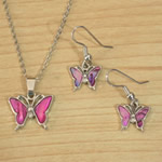 Pink Paua Butterfly necklace and earrings