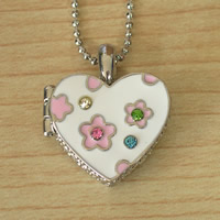 White Flower Heart Locket