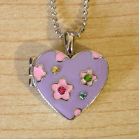 Pink Flower Heart Locket