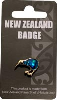 Gold Paua Kiwi Badge