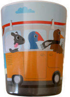 Childrens Mela mine drinking cup with coloured Kiwis riding in a combi