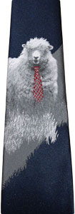 A tie depicting a sheep wearing a red tie