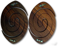 Rugby ball Coasters with Inlaid Paua Shell