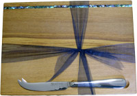 Rimu Cheese Board with Paua Strip, includes stainless steel cheese knife
