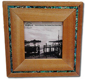 Rimu Paua Strip 4 x 4 Photo Frame has a Paua shell strip surrounding the frame